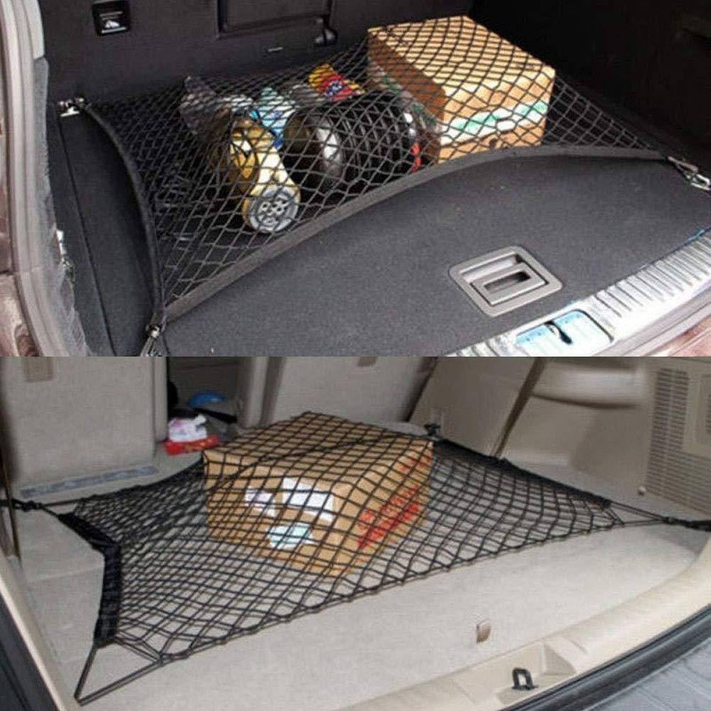 Black nieliangw0q Rear Trunk NetCar SUV Rear Trunk Boot Floor Cargo Luggage Net Elastic Mesh Storage Fixed Set