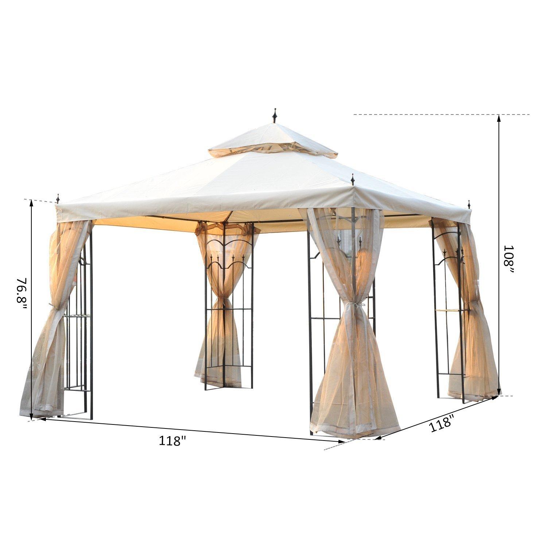 Amazon.de: Outsunny 10 \'x 10\' Stahl Outdoor Garten Pavillon mit Mesh ...