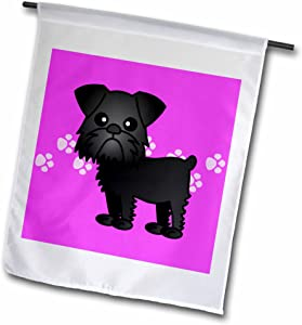 3dRose fl_13822_1 Cute Black Brussels Griffon Pink Pawprint Background Garden Flag, 12 by 18-Inch