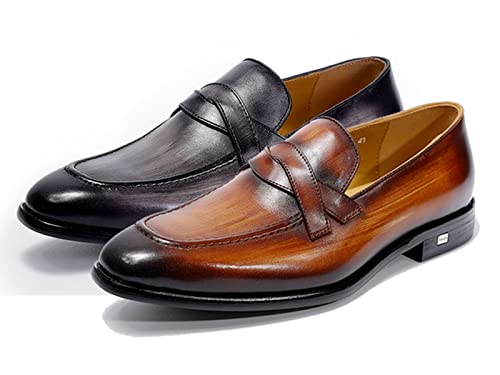 d414f343 Felix Chu para Hombre Penny Mocasines Punta Cuadrada Zapatos de Piel  Elegante Slip On Zapatos de