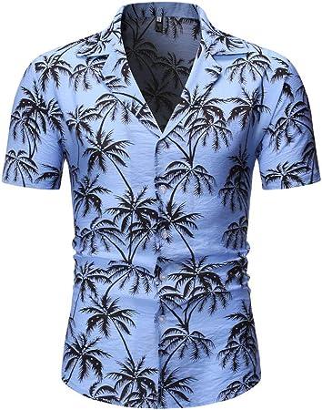 WUAI-Men Camisa de Vestir Floral Casual con Estampado Aloha ...