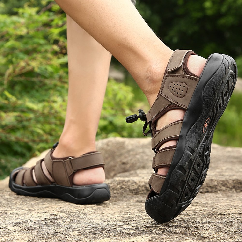 Classic Pink Mens Leather Walking and Hiking Sandals Fashion Breathable Cool Beach Quick Drying Shoes
