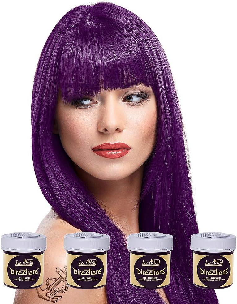 Pack 4x Tinte Capilar La Riche Directions Colour (Plum Purple) + GRATIS Estuche Blue Banana Sugar Skull