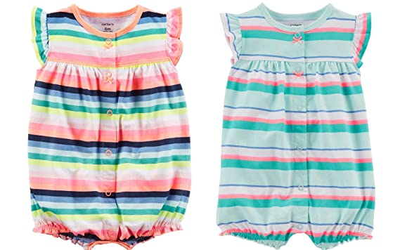 997e1d410 Carter's Baby Girl's 2 Pack Cotton Romper Creeper Set (Newborn, Cool  Stripes Crab and