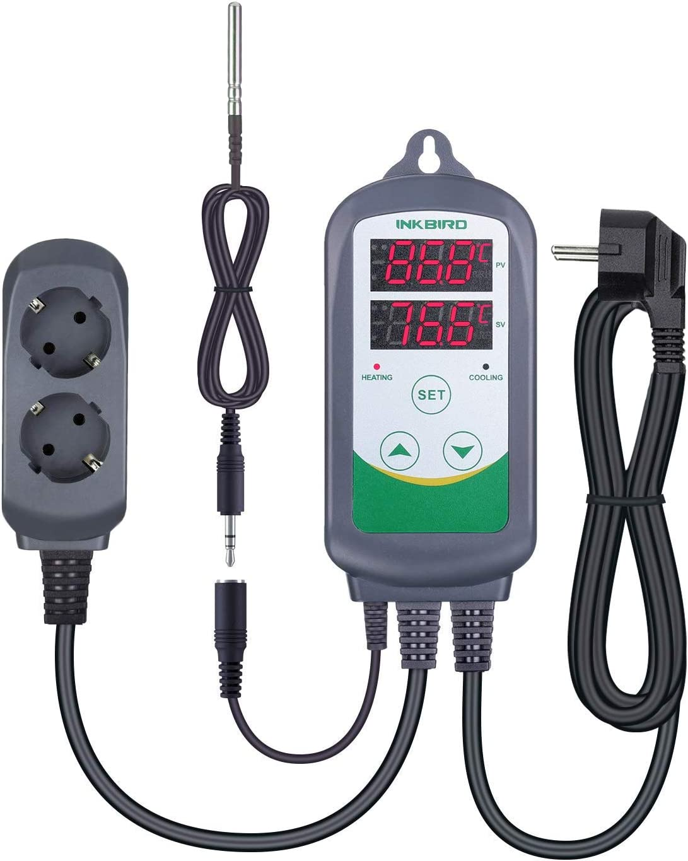 Inkbird ITC-308S Termostato Digital hay Double Relés Controlador la Temperatura de Refrigerador y Calentador para Acuarios, Cerveza Artesanal y Reptile Terrarios + 1.97