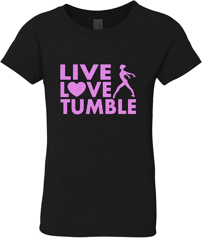 3 Pearls Designs Little Girls Black Neon Pink Glitter Live Love Tumble Tee 3-6X
