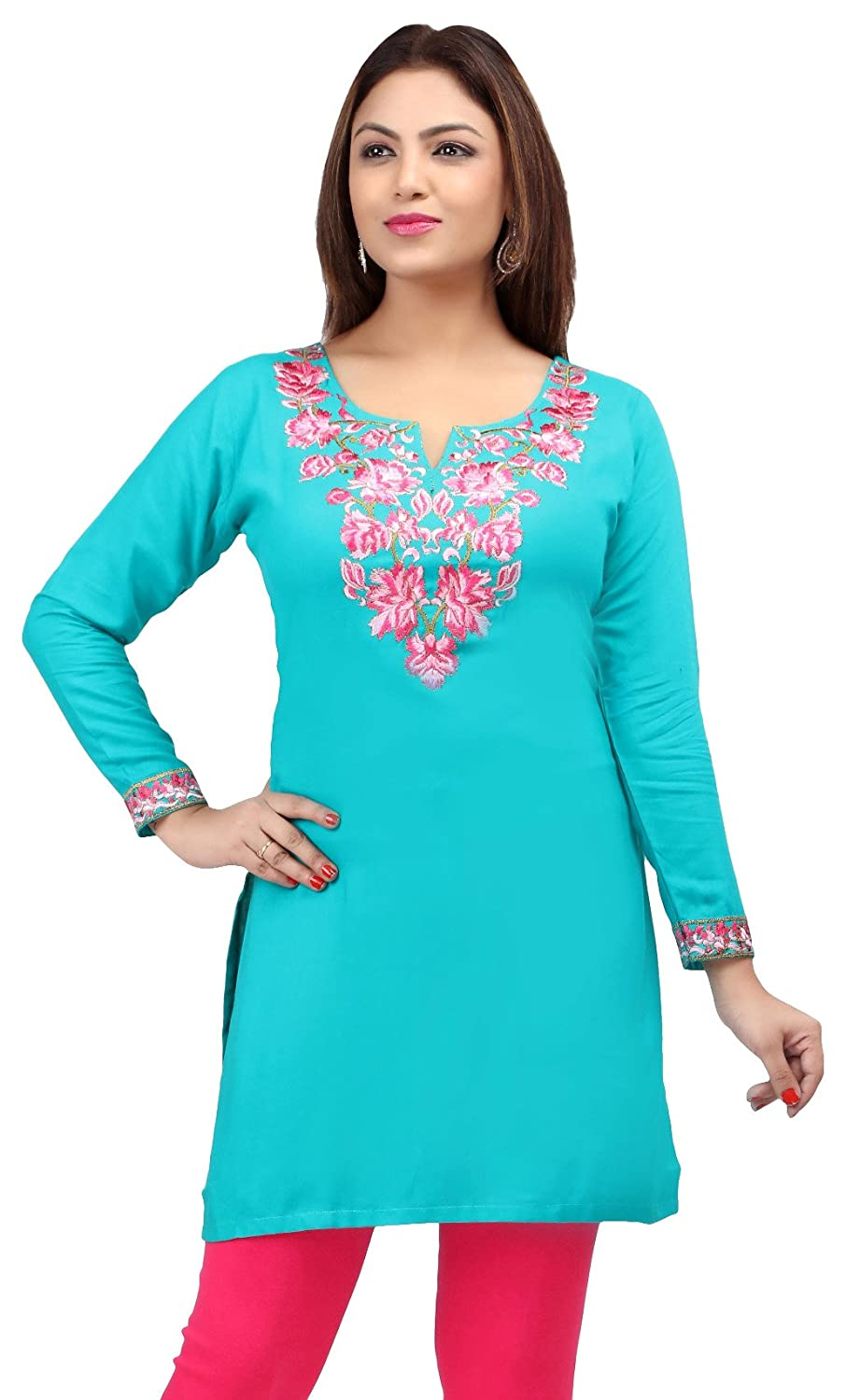 Maple Clothing Rayon Embroidered Womens Indian Kurti Tunic Top Blouse