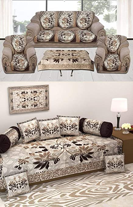 Gurnoor Diwan Set of 8 Pieces Combo with Sofa Covers for Living Room 5 Seater and Center Table Cover Cloth-Coffee Color
