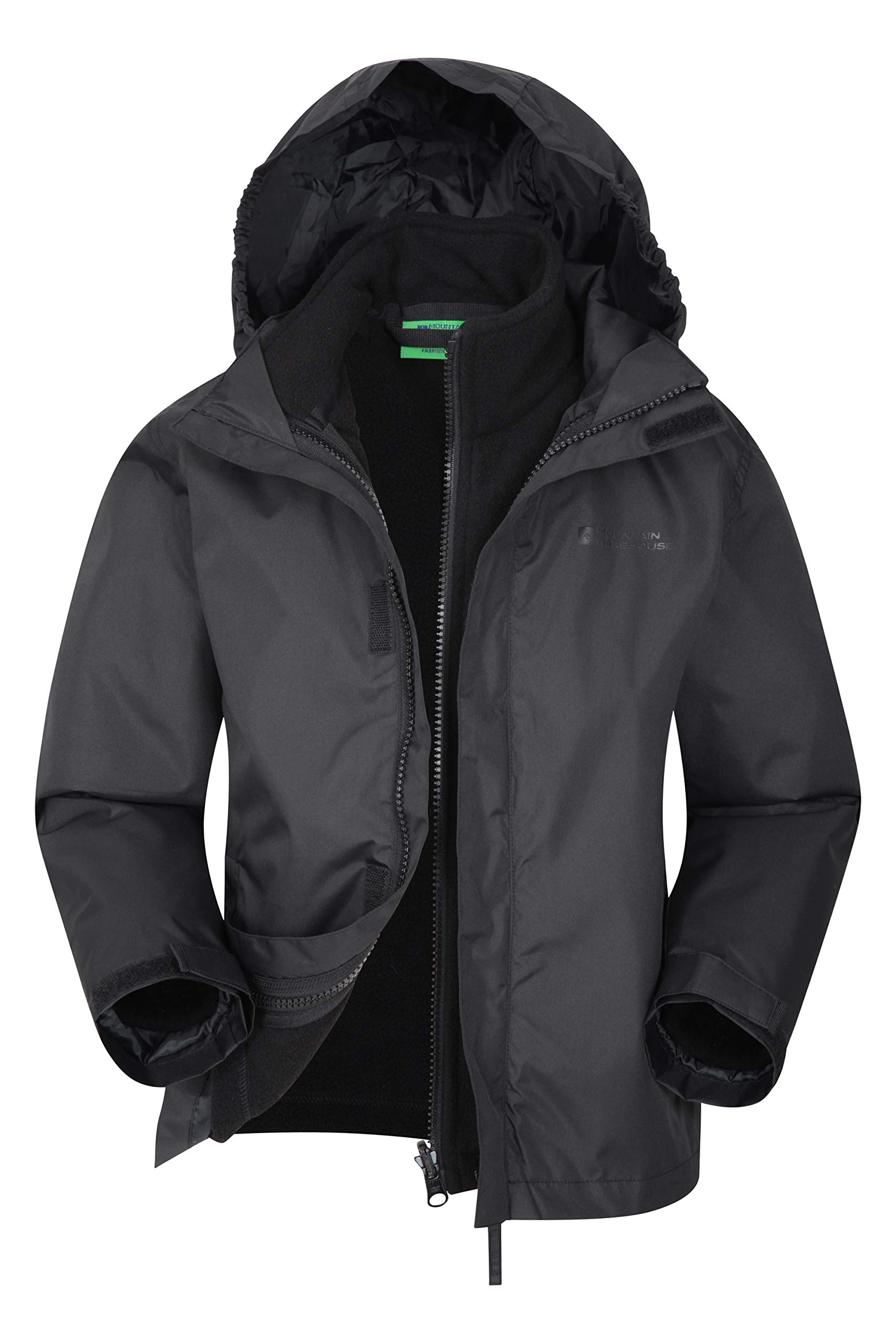 Mountain Warehouse Fell Kids 3 in 1 Jacket - Autumn Triclimate Jacket Black 11-12 Years by Mountain Warehouse