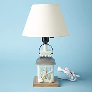 The Lakeside Collection Lake Living Tabletop Lamp with Cloth Shade - Nautical Lighted Accent