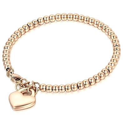 7a710b21c188 JewelryWe Joyería Pulsera De Suerte para Mujer, Acero Inoxidable Pulido,  Bolas Bolitas Estilo Sencillo, Colgante Corazón Dulce para la Buena ...