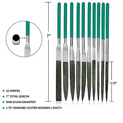 Precision Needle File Set 10pc Plastic Handle Jewelers Metal Glass Hobby Tool