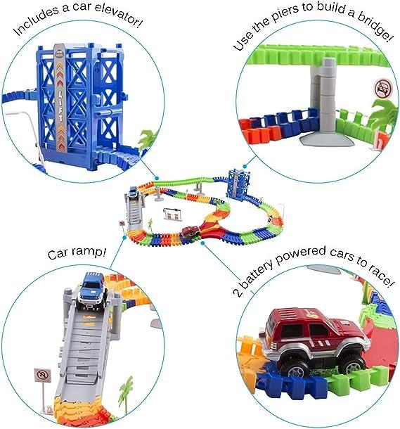 Race Car Track Set Toy Educational Twisted Flexible Tracks 240 Pcs 2 Cars W Lift