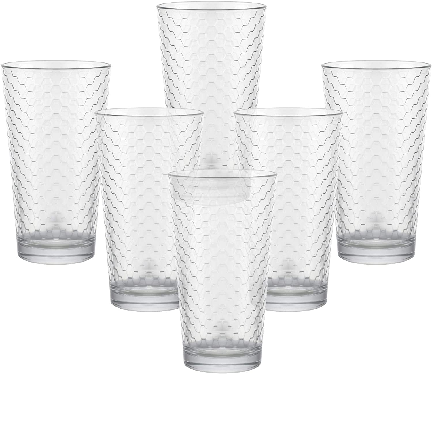 Beverage Tumbler for Water Ice Tea Bar Juice Beer 12pc Circleware 40148 Paragon Honeycomb 12 piece Glassware Set Highball Drinking Glasses /& Whiskey Cups 6-15.75 oz /& 6-12.5 oz