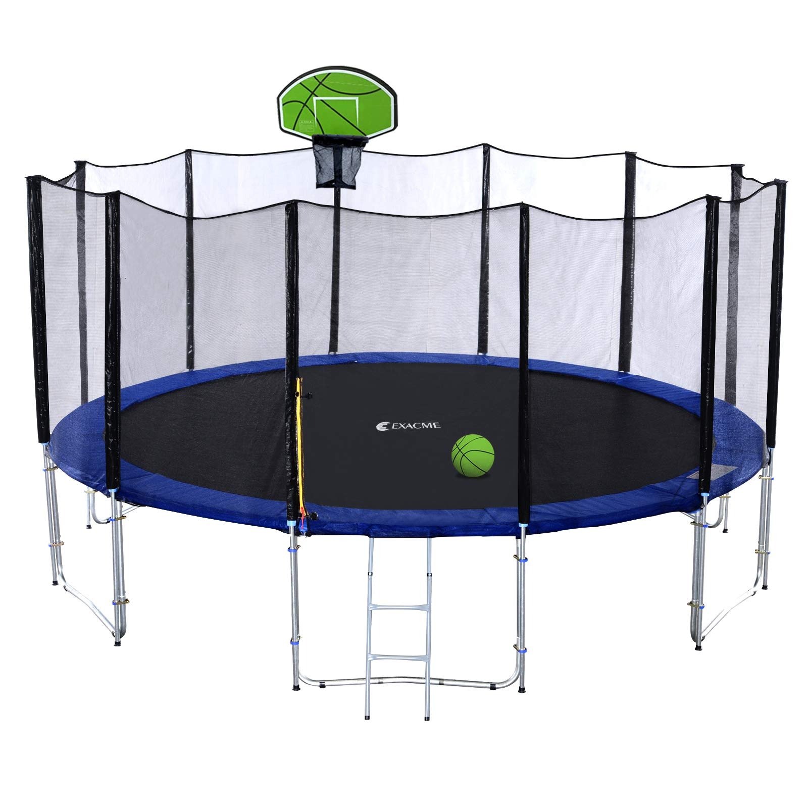 Exacme 16FT Trampoline with Safety Pad,Enclosure Net,Ladder and Green Basketball Hoop (16 FT)