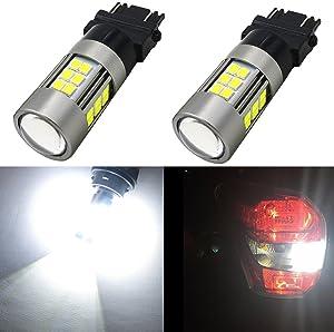 Alla Lighting 2pcs Super Bright 1000 Lumens 6000K White 3156 3157 3056 3156K 3157K 3057 3047 4114K 4114 LED Bulbs High Power New 3035 27-SMD LEDs for Replacing the Back-Up Reverse Light Lamps