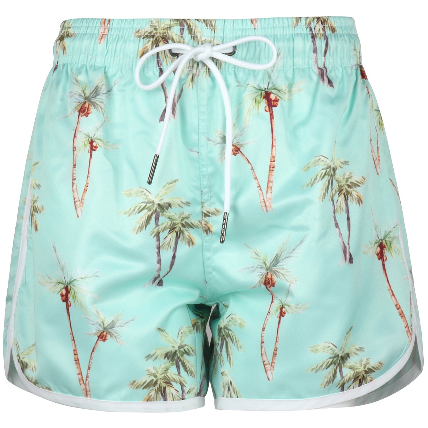 Women's Floral Board Shorts Hawaiian Beach Shorts, Coconut Blue, Small=Tag M