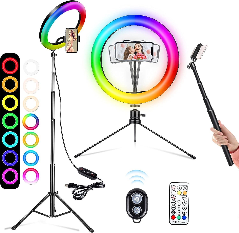 25.4 Zentimeter Crenova LED Ringleuchte Licht mit Fernbedienung Stativ f/ür die Aufnahme von Selfie-Live-Streaming//Make-Up//YouTube-Videos 10 Zoll