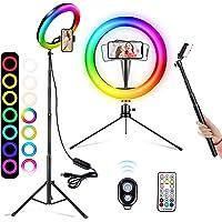 10 tums ringlampa med stativstativ och 2 telefonhållare, 26 RGB-färger dimbar LED-ringlampa med Bluetooth-fjärrkontroll…