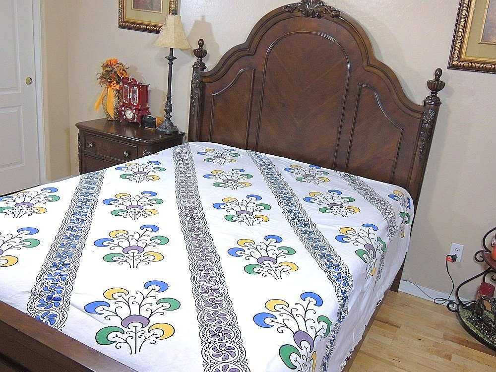 India Inspired Bedding Duvet White Block Printed Cotton Reversible Queen Linens by NovaHaat (Image #6)