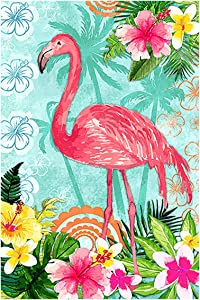 Morigins Flamingo House Flag Double Sided Welcome Tropical Flower Floral Outdoor Yard Flag 28 x 40 Inch