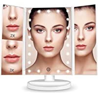 Bestope 化妆镜子化妆镜镜子三面镜女镜面卓上带 LED 折叠放大镜2& 3& 10倍亮度可调节可180° 旋转 & 电池 USB 两用供电白色