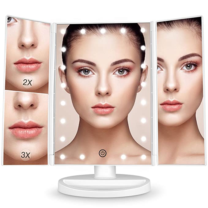 Bestope 24 Led Makeup Vanity Mirror With 3 X/2 X Magnification,Detachable 10 X Magnifying Mirror,Touch Screen, 180°Adjustable Rotation, Dual Power Supply, Countertop Costmetic Mirror by Bestope