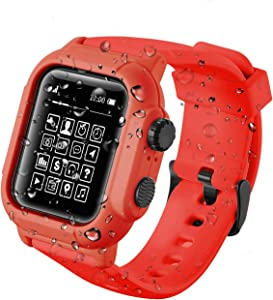 Compatible with for Apple Watch Band Case 42mm 44mm Series 5/4/3, IP68 Waterproof Case with Soft Silicone Band and Anti-Scratch Protector,Compatible with iWatch 42mm 44mm (Red, 44mm)