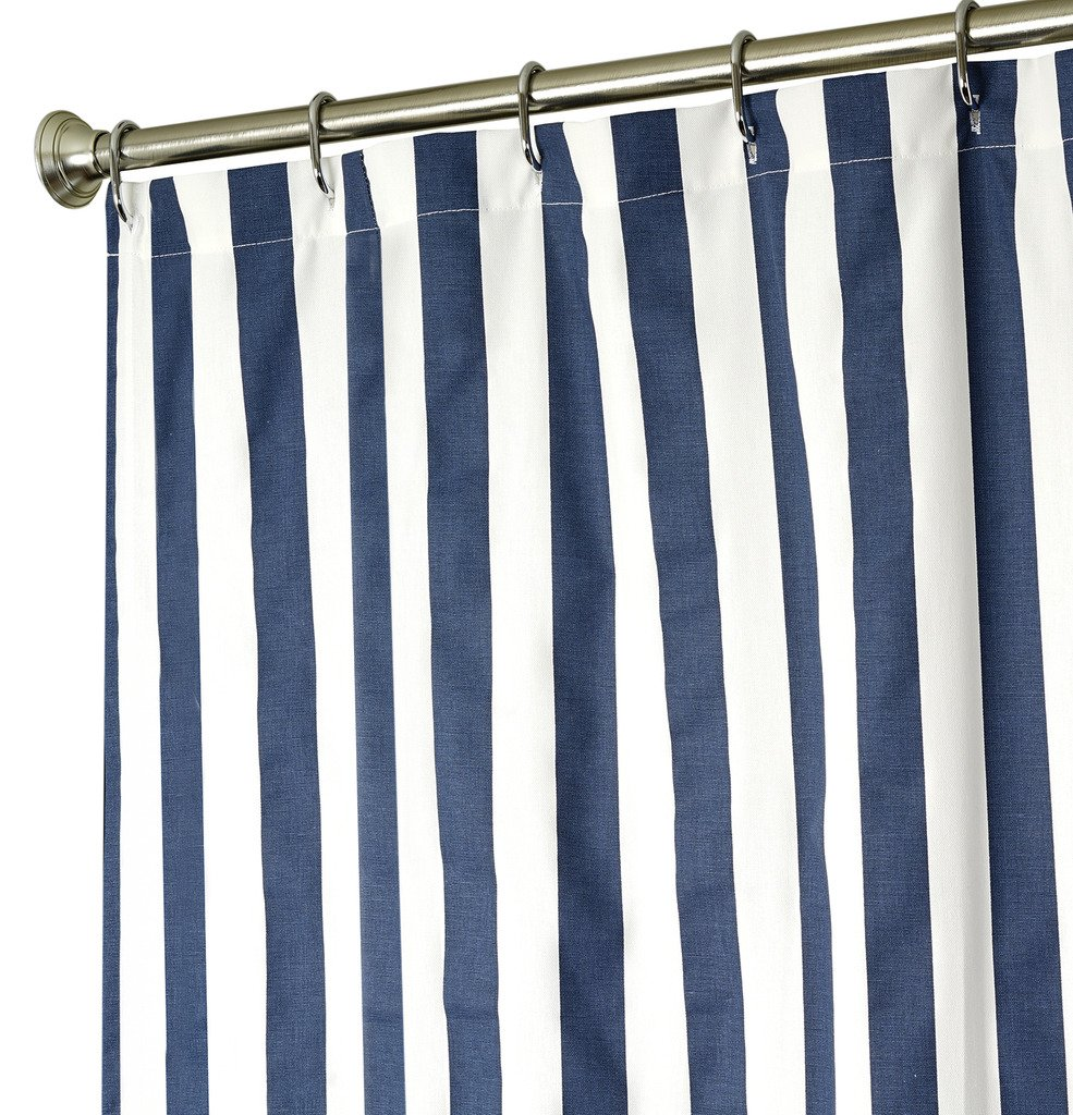 Decorative Things Extra Long Shower Curtain Fabric Striped Curtains For Bathroom Navy Blue Bath Luxury Cotton Cloth 84 Inch