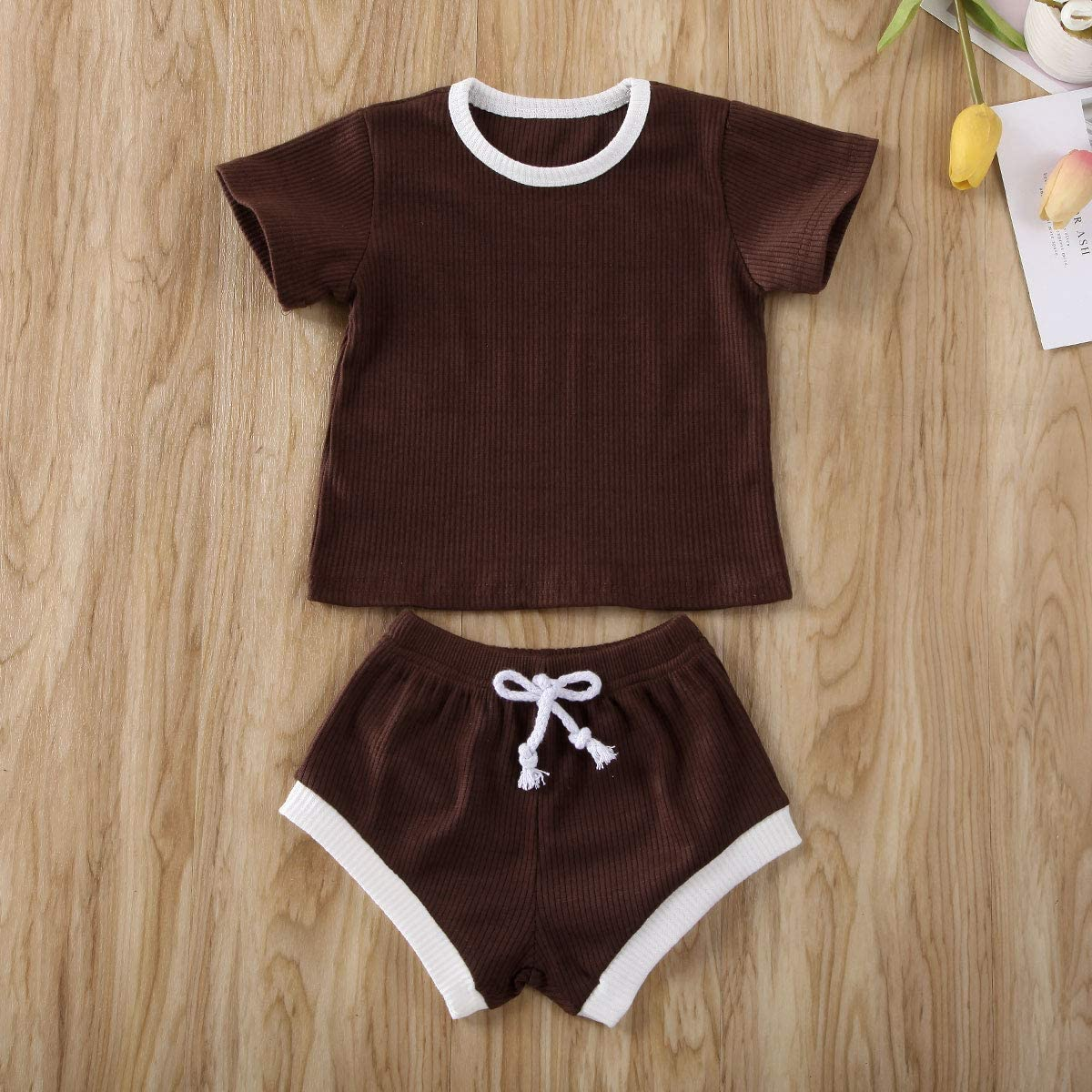 Newborn Infant Baby Girl Boy Clothes Short Sleeve Tops T-Shirt+Shorts Pants Solid Color Two Piece Outfits Set