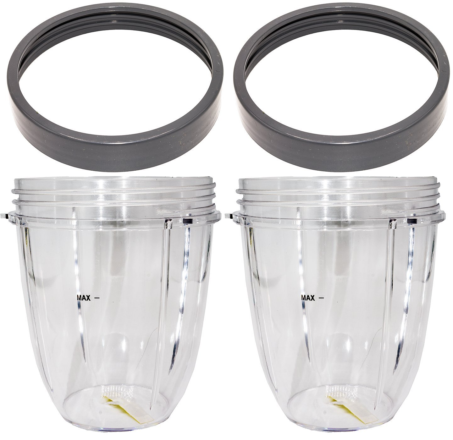 Blendin 2 Pack 18 Ounce Short Capacity Cup with Lip Rings, Fits Nutribullet 600W 900W Blenders