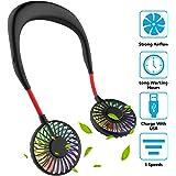 Hand Free Mini USB Personal Fan - Rechargeable Portable Headphone Design Wearable Neckband Fan,3 Level Air Flow,7 LED…