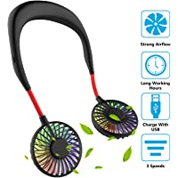 Hand Free Mini USB Personal Fan - Rechargeable Portable Headphone Design Wearable Neckband Fan,3 Level Air Flow,7 LED Lights,360 Degree Free Rotation Perfect for Sports, Office and Outdoor (Black)