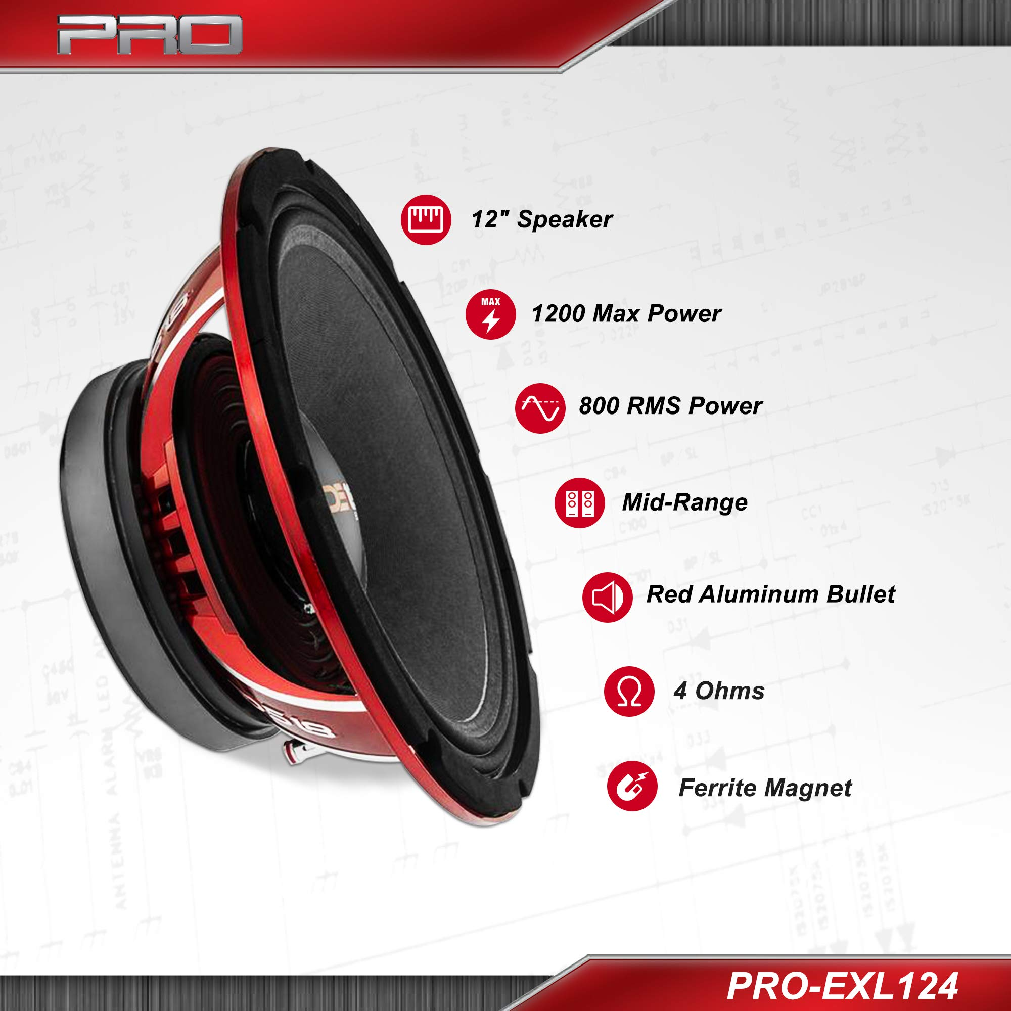 DS18 PRO-EXL124 Loudspeaker - 12'', Midrange, Red Aluminum Bullet, 1200W Max, 800W RMS, 4 Ohms, Ferrite Magnet - For the Peple Who Live and Breathe Car Audio (1 Speaker) by DS18 (Image #2)