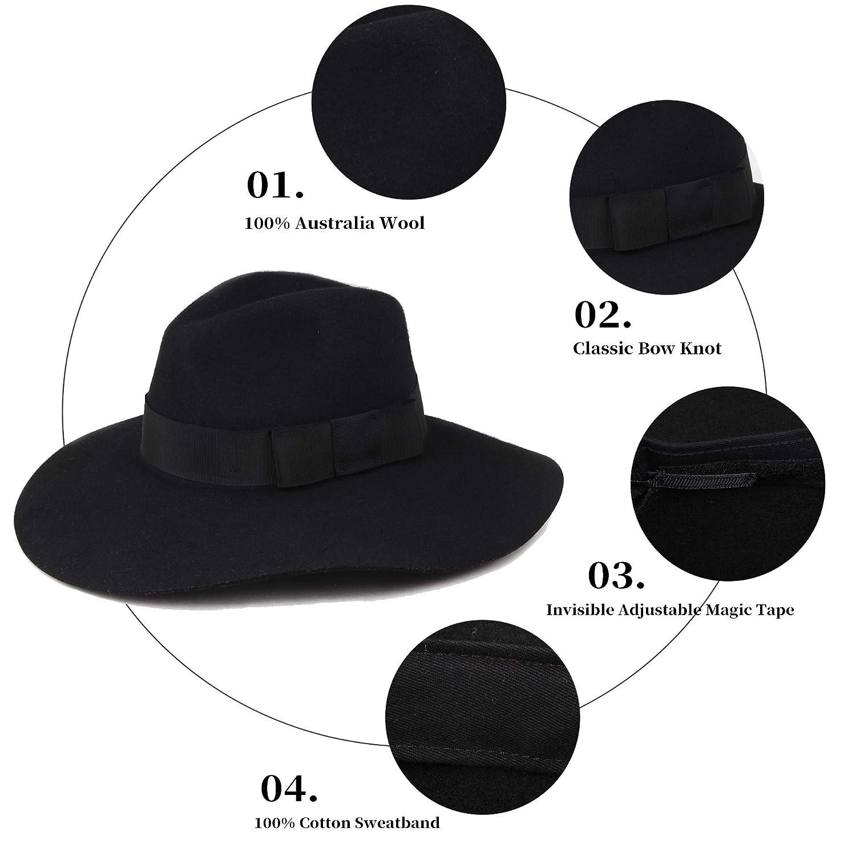 Mix Brown Womens 100/% Premium Wool Felt Fedora Hat Wide Brim Panama Hats M//L/