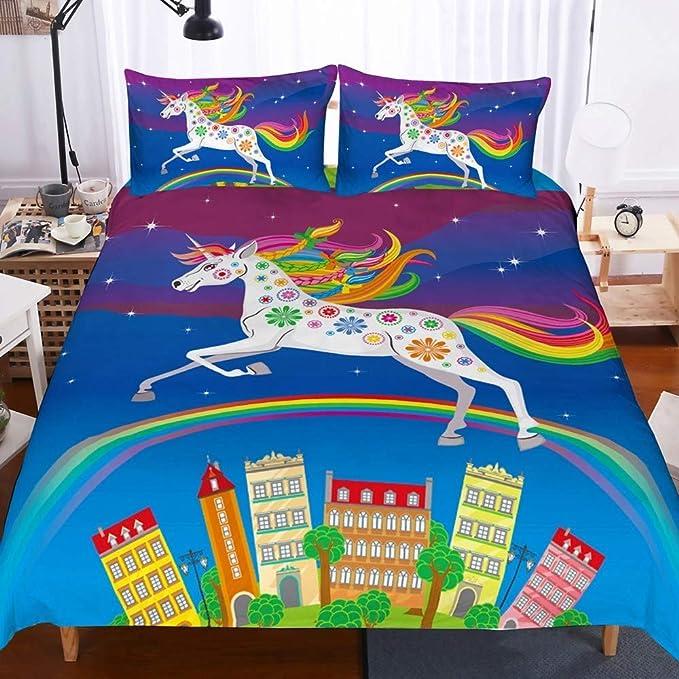 NYLIN Funda Nórdica Infantiles Unicornio Colcha Estampada Unicorn Animal Dibujos Animados Juego De Ropa De Cama 2-4 PCS Fundas De Edredón Nórdico/ Fundas De Almohada/Sábanas para Cama 90/135/150/180: Amazon.es: Hogar