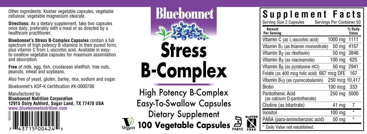 Bluebonnet Nutrition Stress B Complex Vegetable Capsules, Vitamin B6, B12, Biotin, Folate, Stress Relief, Vegan, Vegetarian, Gluten Free, Soy Free, Milk Free, Kosher, 100 Vegetable Capsules by Bluebonnet