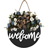 Welcome Sign Welcome Front Door Round Wood Sign Hanging Welcome Sign for Farmhouse Porch Decoration Spring Front Door Decorat