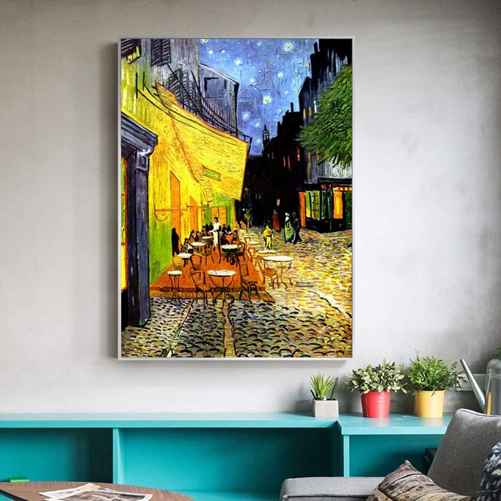 Café terraza en la Noche análisis Lienzo Pintura ...