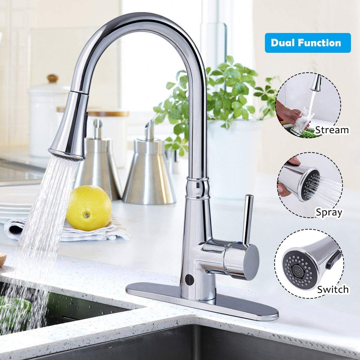 Giantex Motionsense Touchless Single-Handle Pull-Down High Arc Rotatable Kitchen Faucet w/Dual Sprayer Hot Cold Water Mixer (Chrome) by Giantex (Image #2)