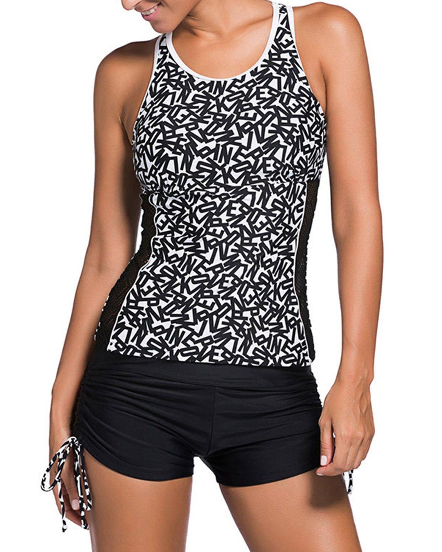 Yonique Womens Rash Tankini Vest Top Multi-Strap Racerback with Boyshort 2 Piece Swimsuit