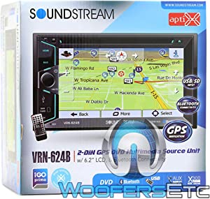 """Soundstream VRN-624B in-Dash 2-DIN 6.2"""" Touchscreen LCD DVD Receiver with Bluetooth and GPS Navigation"""