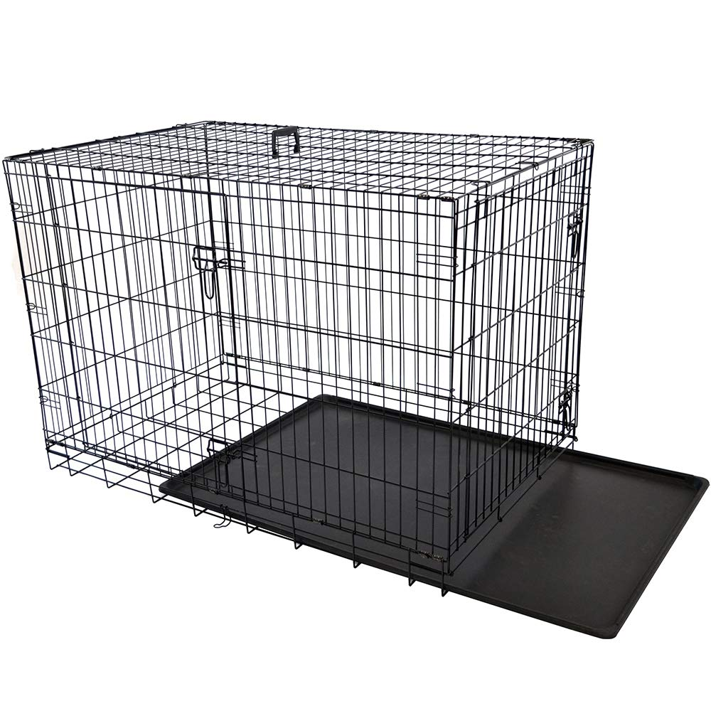 AODD Double Door Dog Crates, Folding Metal Dog Crate with Leak-Proof Dog Tray, Comfort Handle, Two Slide-Bolt latches Increased Safety Security, Folds Flat Easy Storage, for Big Small Dog Pets (S) by AODD