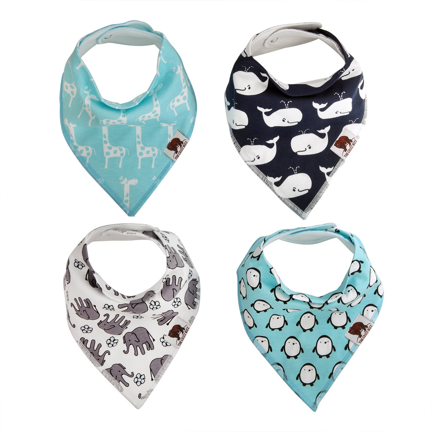 The Grizz Bizz Baby Organic Cotton Drool Bibs, (Pack of 4) - Neutral Animal