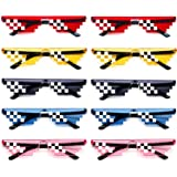 Thug Life Party Sunglasses 8 Bit Pixelated Mosaic Gamer MLG Photo Props Glasses for Adults Teens