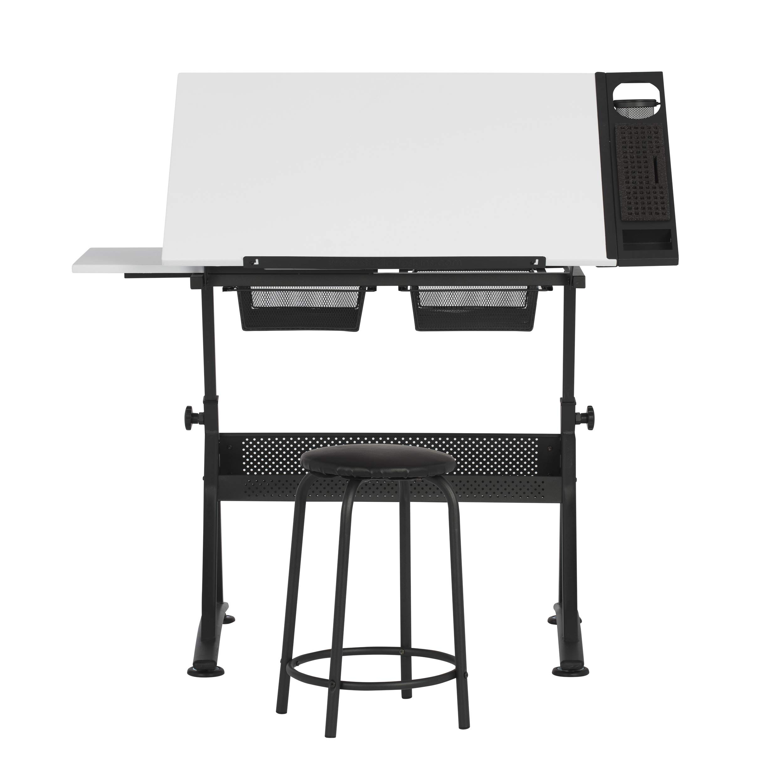 SD STUDIO DESIGNS 47'' W Fusion Craft Center with 24'' Supply Tray, 60 Degree Angle Top and Height Adjustable from 27.75'' – 35.5'' When Flat, Stool and Slide-Out Shelf Included, Charcoal/White