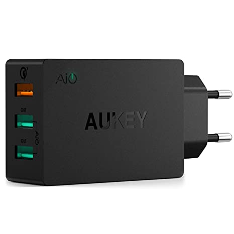 AUKEY Quick Charge 3.0 Cargador Móvil 3 Puertos 43,5W Cargador de Pared para Samsung Galaxy S9/ S8 / Note 8, LG, HTC, iPhone XS / XS Max / XR, iPad ...