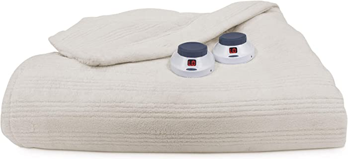 SoftHeat by Perfect Fit | Ultra Soft Plush Electric Heated Warming Blanket with Safe & Warm Low-Voltage Technology (Full, Natural)
