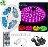 LED Strip Light Waterproof MINGER 5m RGB SMD 5050 LED Rope Lighting Color Changing Strips