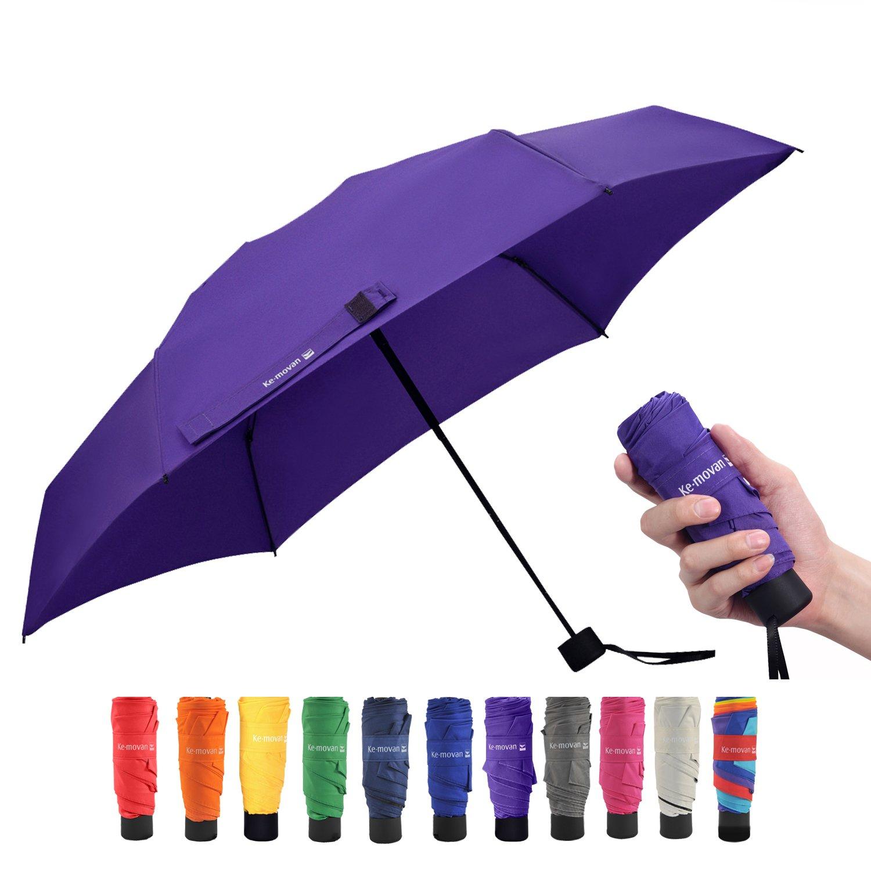 Ke.movan Travel Compact Umbrella Small Mini Umbrella for Backpack, Purse, Pocket - Fits Adults & Kids (Ver.1-Purple)